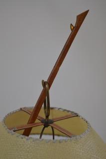 Vintage messing & teakhouten 'Dornstab' lamp