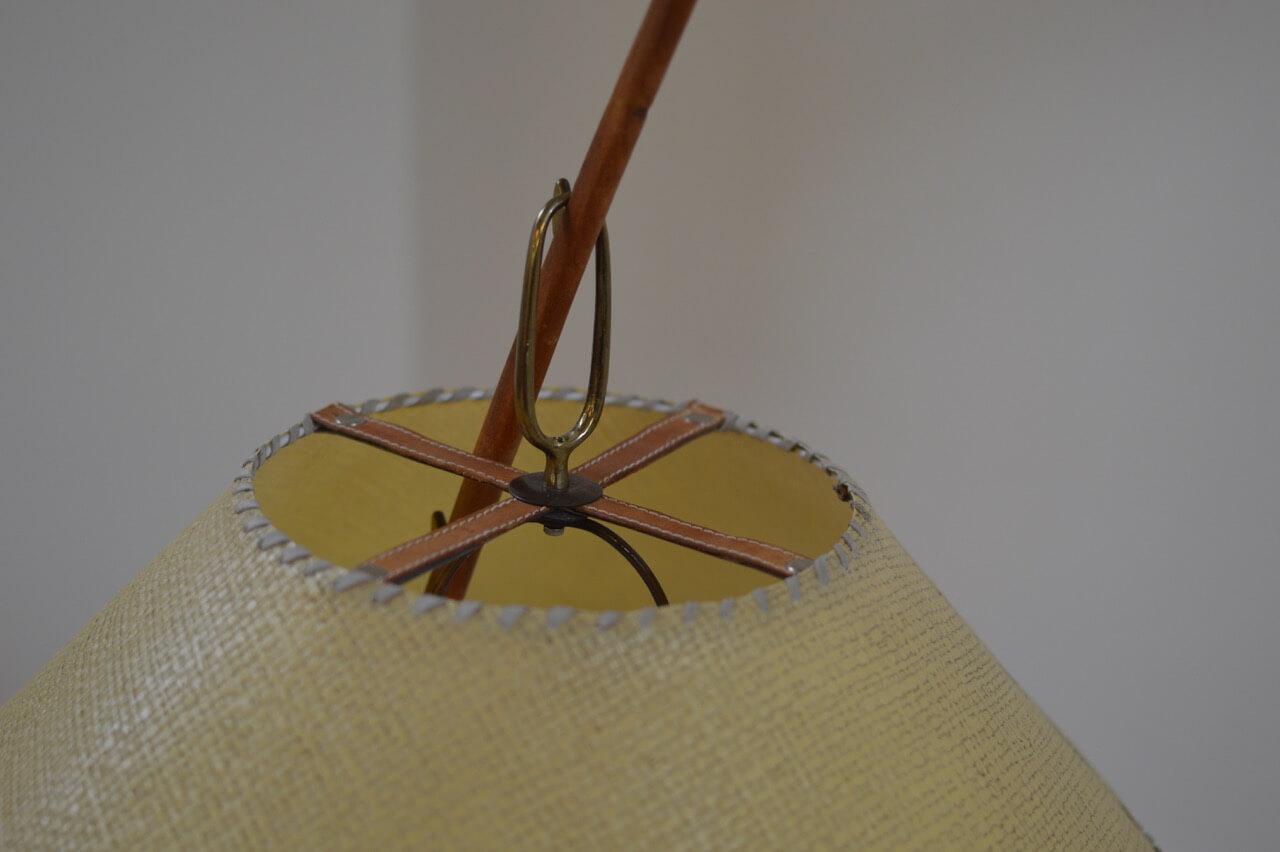 Vintage messing en teakhouten 'Dornstab' vloerlamp