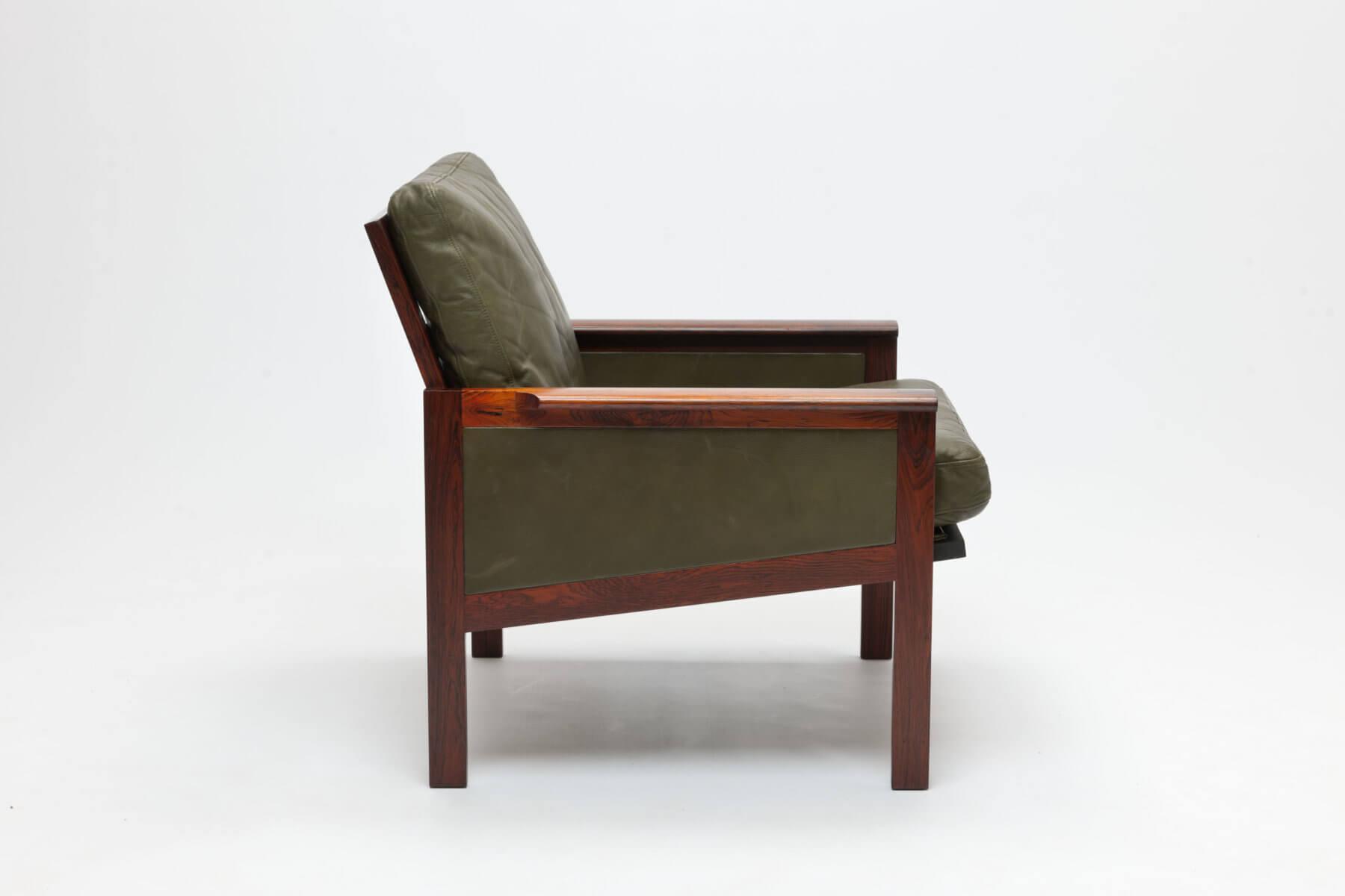 Set van twee Deense vintage palissander en groen leren fauteuils