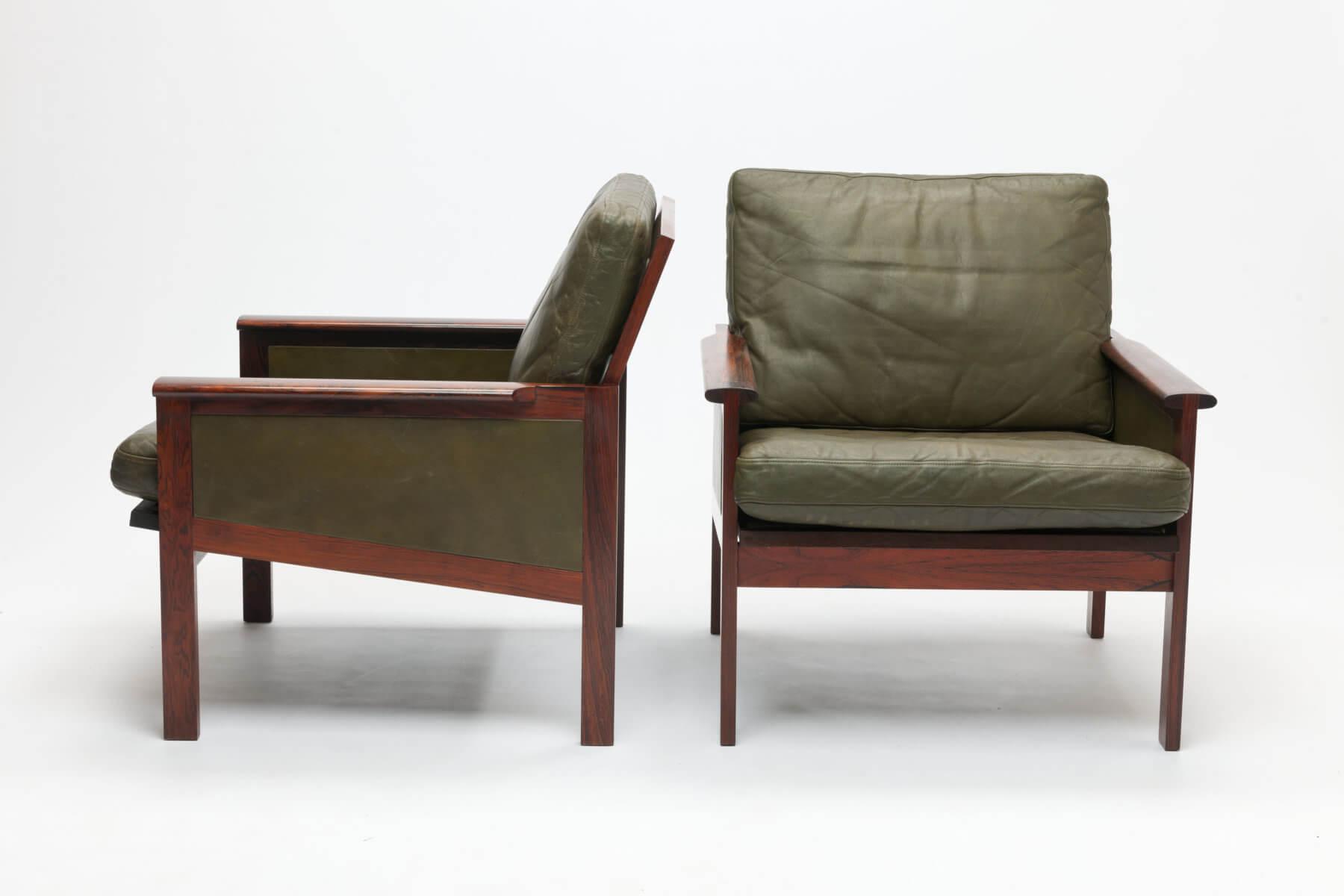 Vintage Illum Wikkelso palissander & leren fauteuils (2)