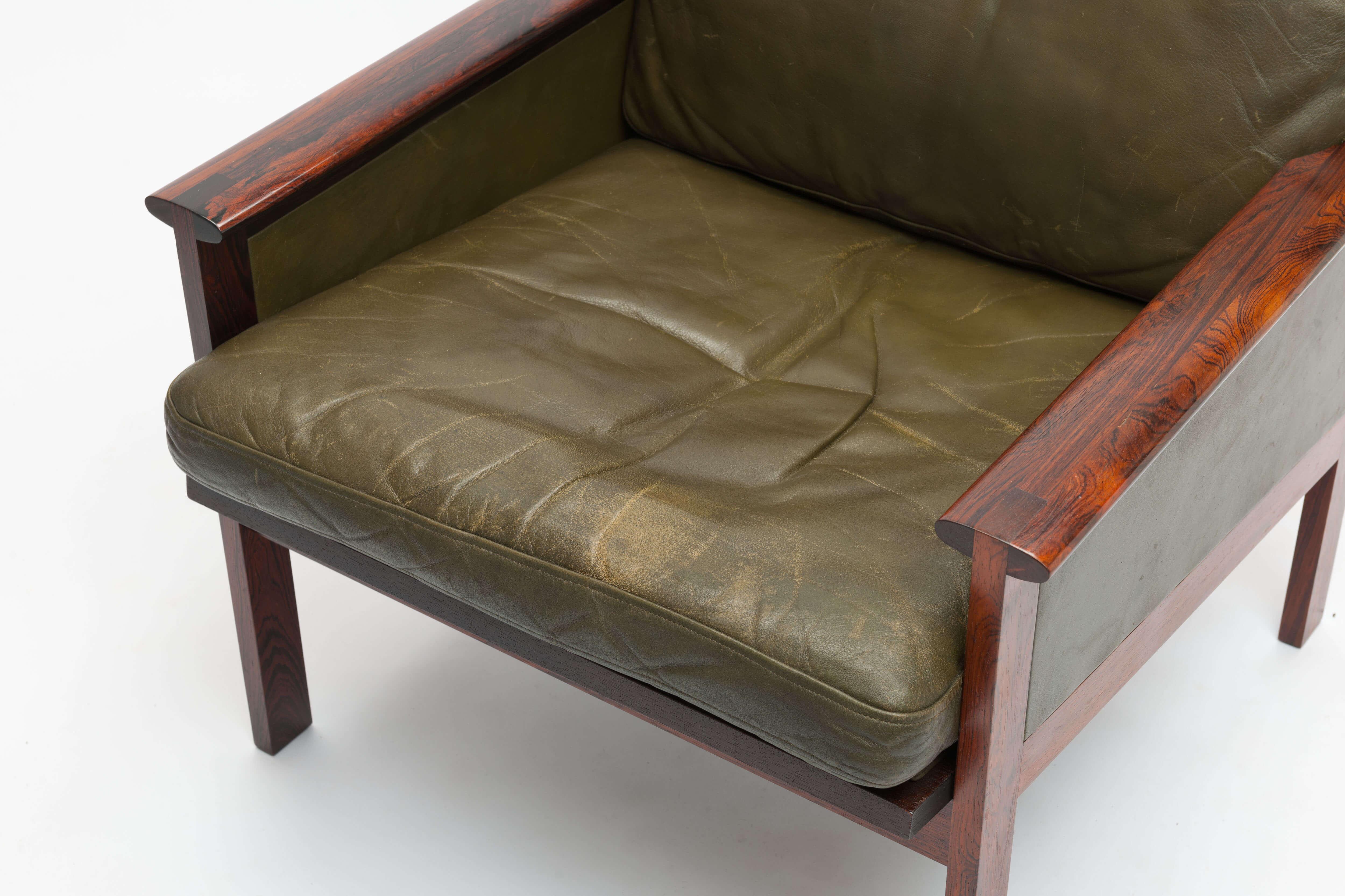 Vintage Palissander & leren fauteuils