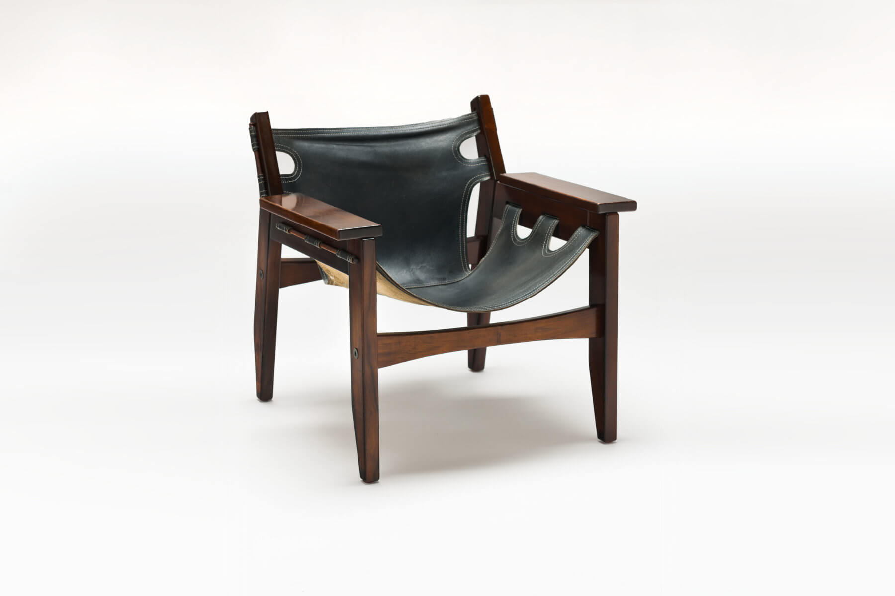 Vintage zwart leren 'Kilin' Lounge Chair