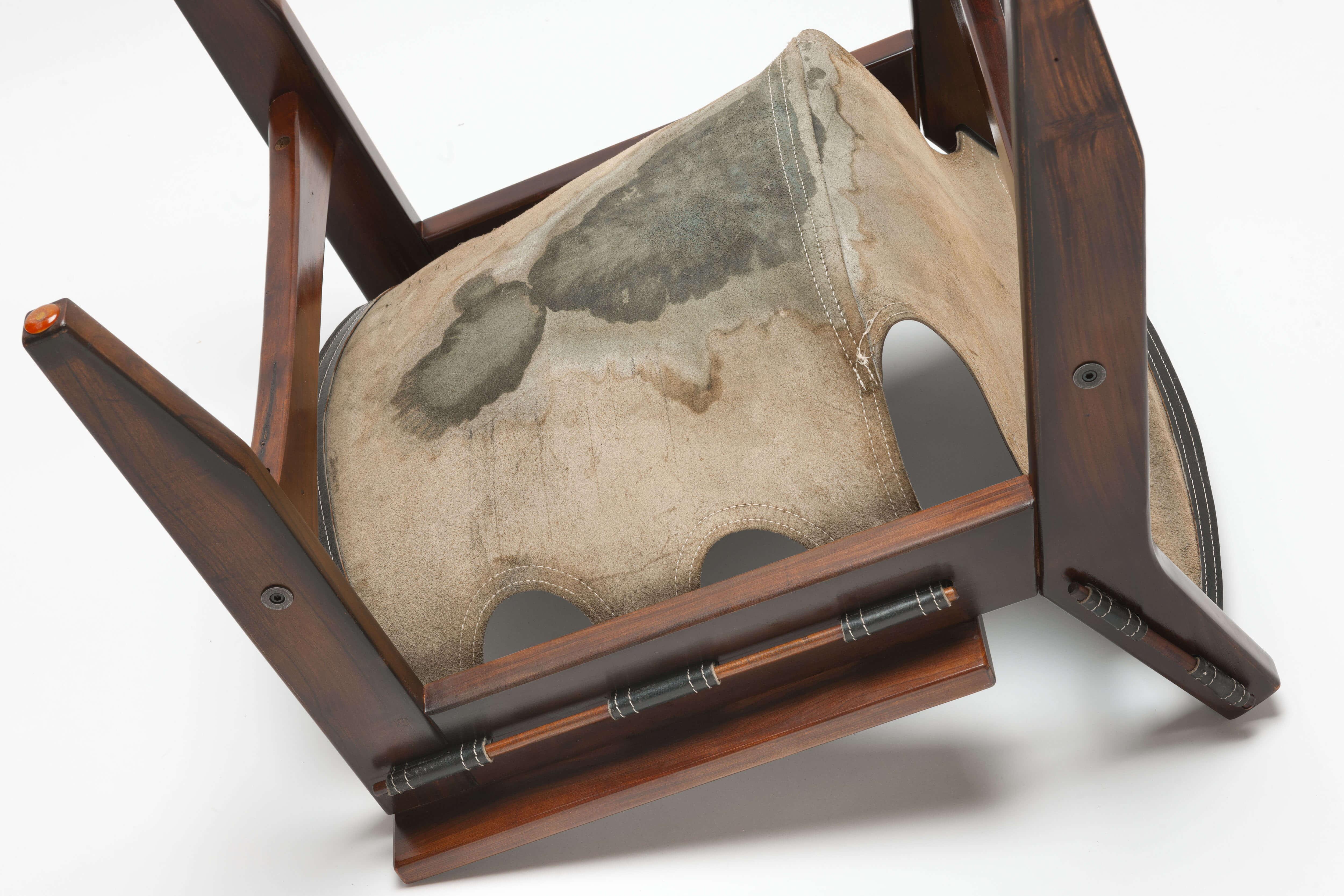 Vintage zwart leren 'Kilin' Lounge Chair