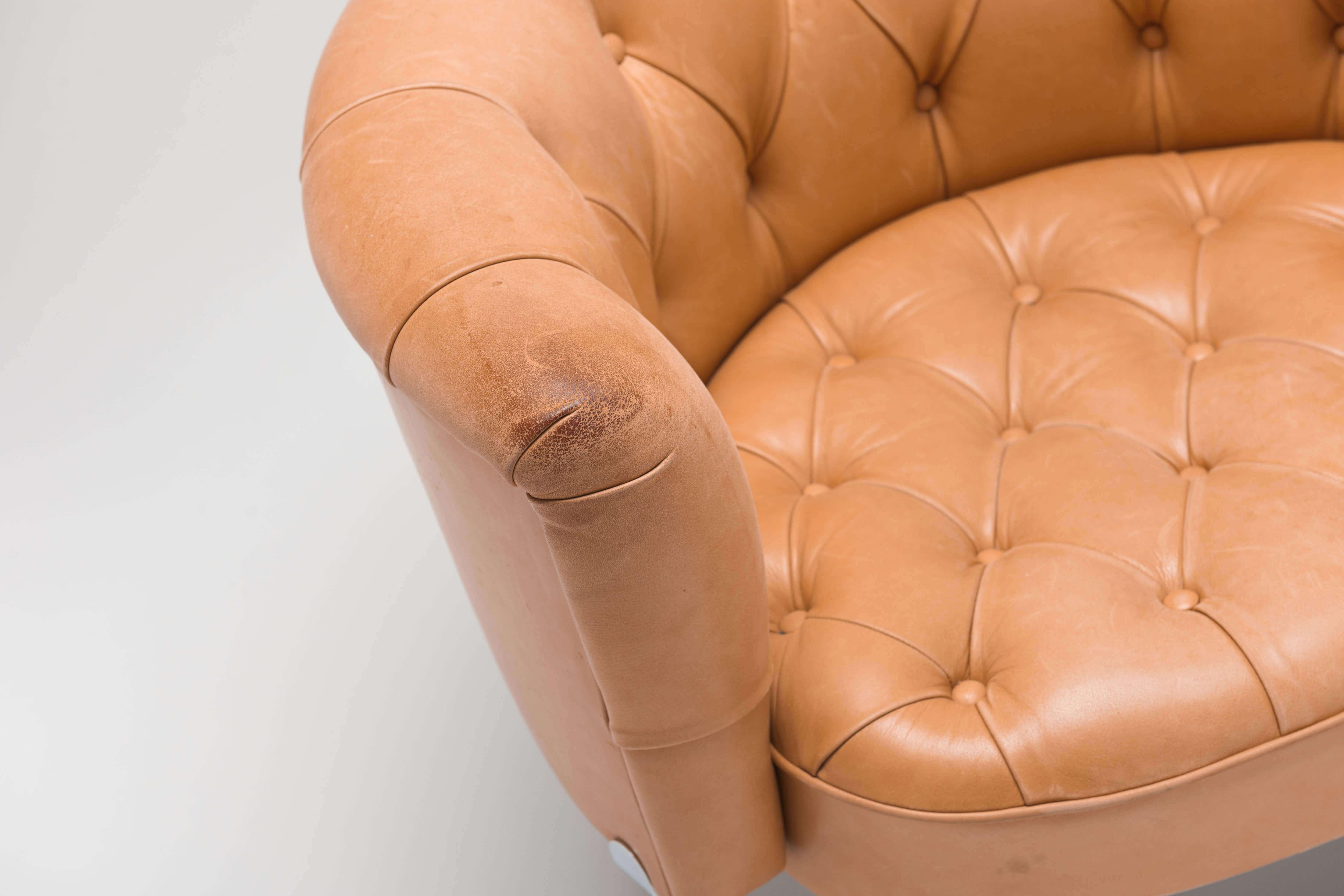 Vintage diamond pattern club chair