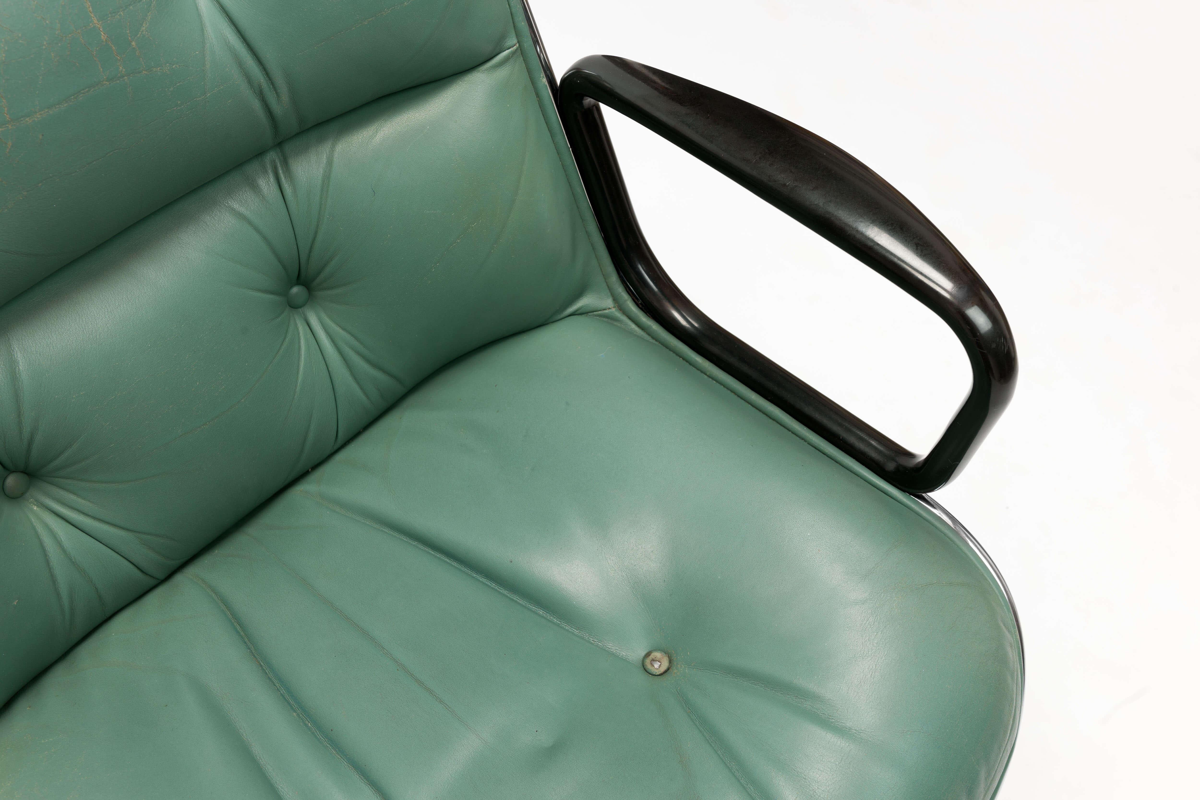 Vintage zeegroene bureaustoel