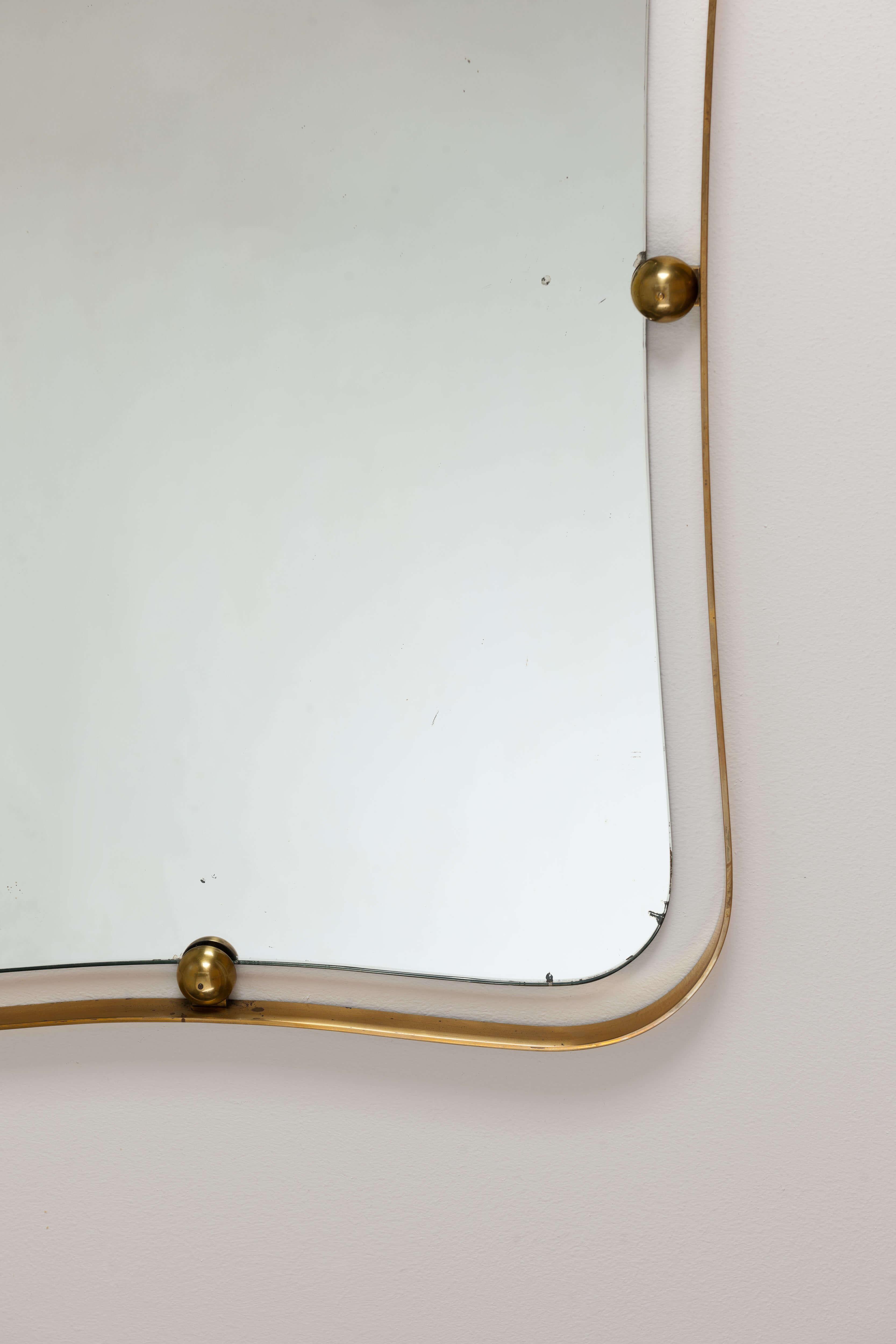 Vintage Italiaanse Messing Spiegel