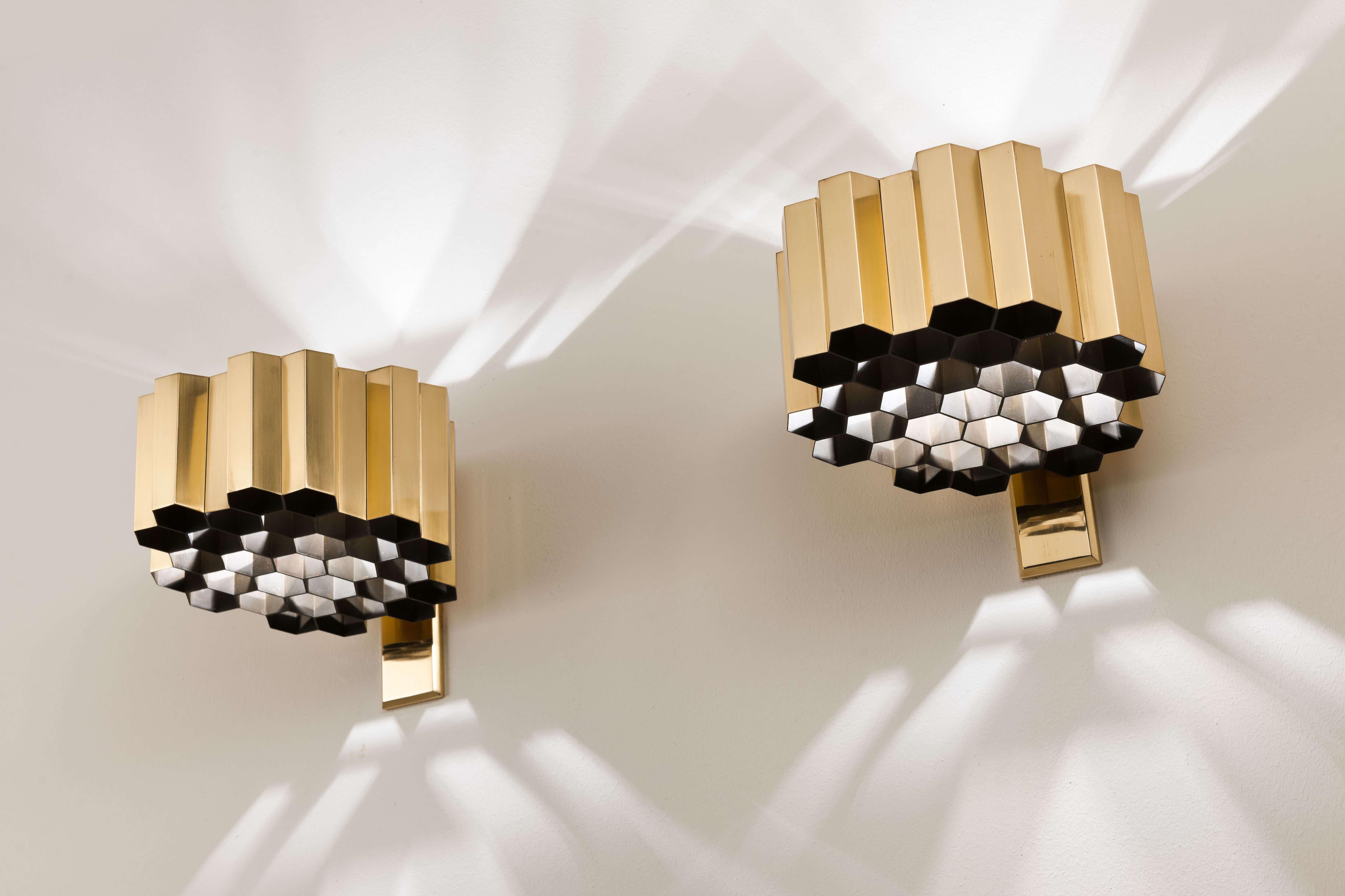 Vintage 'Honeycomb' wandlampen