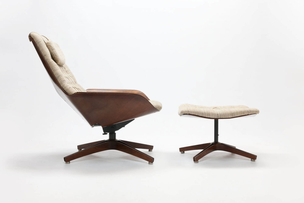 Vintage Plywood 'Mr. Chair' & Ottoman Lounge Chair