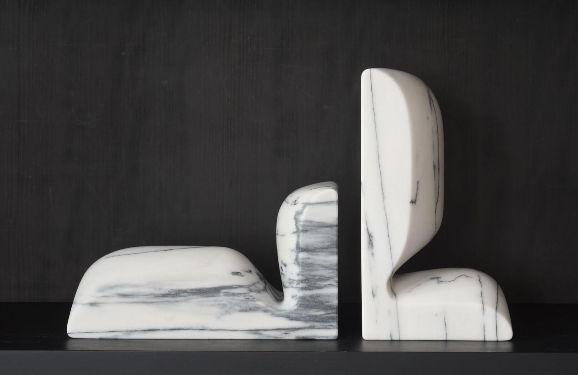 Slo Book Ends – White Aquatico Marble