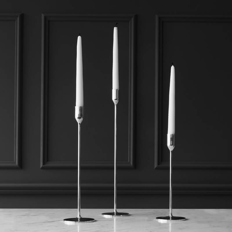 Set Nattlight Candle Sticks (2)  'zilver'