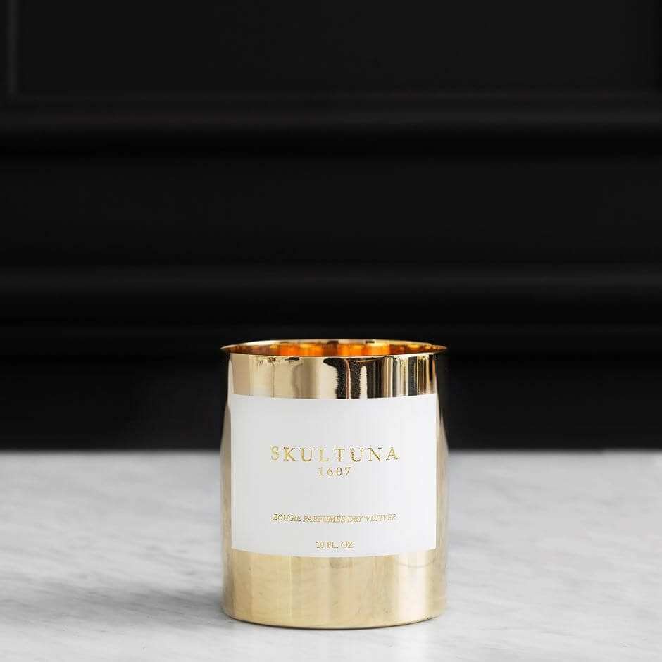 Scented candle 'Dry Vetvier' in Brass Pot