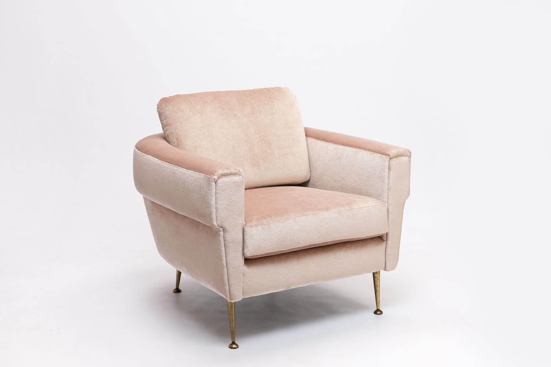 Vintage Blush Pink & Gouden Italiaanse Armstoel
