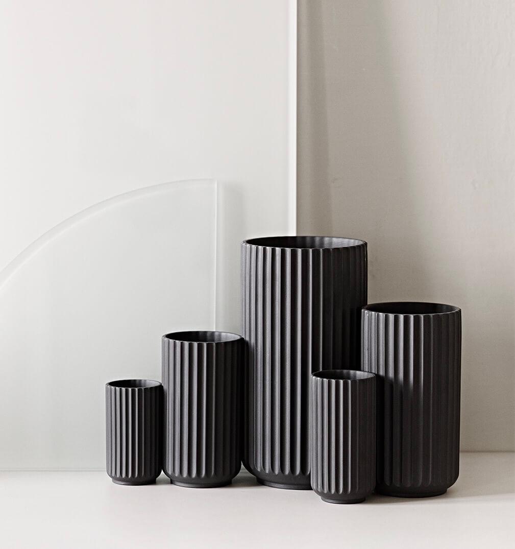 Porseleinen Lyngby vaas 20 cm zwart-grijs
